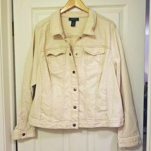 Lane Bryant Cream Denim Jacket,  Size 24W, EUC